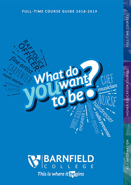 Barnfield College Full-time course guide/prospectus cover