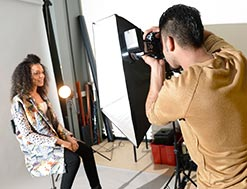 lady being photographed in studio