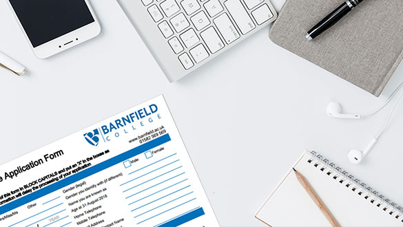 Barnfield College Application form