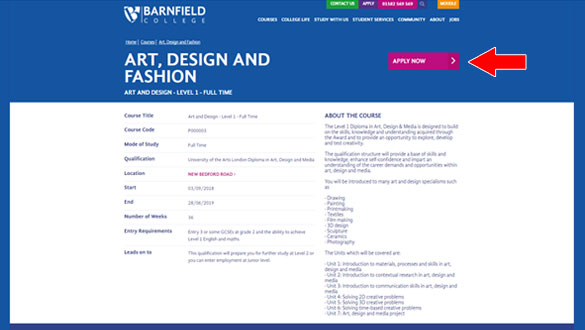 Barnfield College application screen