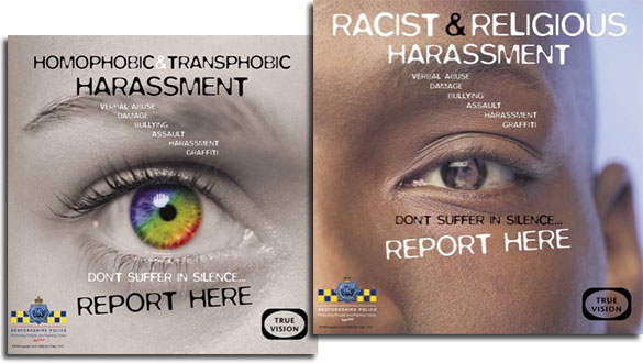 Report Hate Crime Here posters