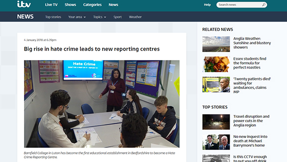 Screen shot of Barnfield College on ITV website