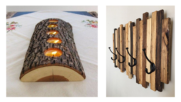 Wooden candle holder and wooden coat rack