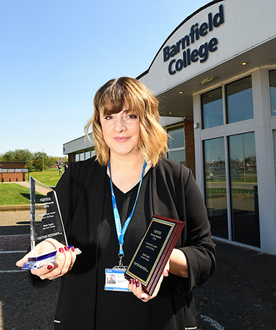 Beth Taylor, Barnfield College Head of Tutoring, Student Services & Student Engagement with awards