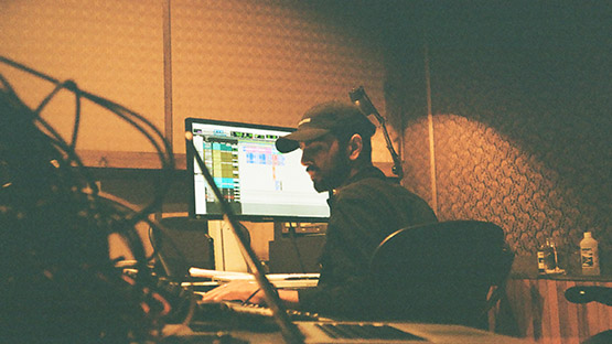 Aman Sahota in the studio