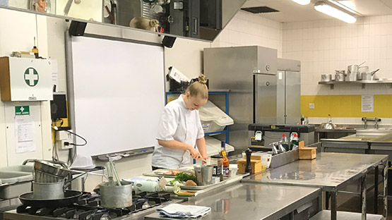 Louisa Ellis delivering Barnfield College catering masterclass